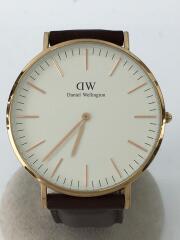 クォーツ腕時計/アナログ/レザー/WHT/BRW/ダニエルウェリントン