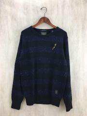 セーター(薄手)/M/ウール/NVY/ボーダー