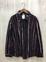 striped faux shearling shirt jacket/NOYKDA/フリースジャケット/L/ナパヒ