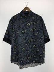 半袖シャツ/3/ポリエステル/BLU/総柄/19年製/ペイズリーフラワープリントシャツ