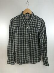 長袖シャツ/38/コットン/グレー/チェックシャツ/刺繍/ウエスタンシャツ/MADE IN JAPAN