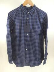 チェックシャツ/1/コットン/ブルー/ブラウン/長袖/サックス/