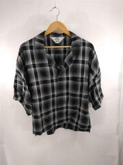 19SS/SHADOW CHECK FRIED SHRIMP SHIRT/3/レーヨン/ブラック/チェックシャツ/半袖シャツ オープンカラー