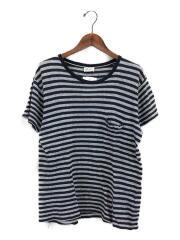 胸ロゴボーダーTシャツ/Tシャツ/S/コットン/GRY/ボーダー
