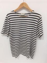 Tシャツ/4/コットン/BLK/ボーダー/穴、右袖に汚れ有