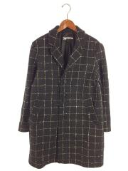19AW/Wool Windowpane Overcoat/チェスターコート/S/ウール/BLK