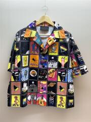 20ss/テクニカルファブリックシャツ/グラフィックプリント/半袖シャツ/L/コットン/マルチカラ-