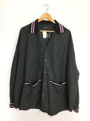 19AW/バックプリントシャツジャケット/長袖シャツ/48/コットン/GRY/チェック