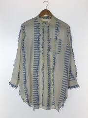 Spread Collar Shirt - Dobby Tassel/長袖シャツ/XS/コットン/WHT/シミ有