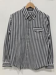 長袖シャツ/S/コットン/BLK/ストライプ/襟汚れ有