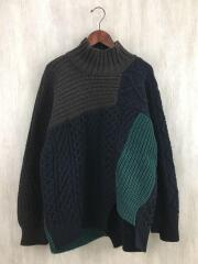18AW//Kolor Patchwork Roll Neck Sweater/セーター(厚手)/1/ウール/BLK