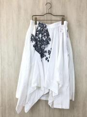 裾ブロード切替フレアスカート/1/コットン/WHT