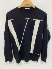 VLTN intarsia cashmere sweater/セーター(薄手)/M/ウール/BLK/汚れ有