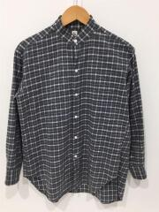 Cotton Flannel Stand Collar Shirt/長袖シャツ/36/コットン/GRY/チェック