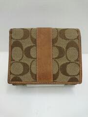 3つ折り財布/キャンバス/ブラウン/総柄/茶色
