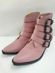 TOGA PULLA/トーガプルラ/Four Buckle Western Boots/PINK/ピンク/レザー