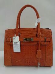 ハンドバッグ/オレンジ/クロコ/鞄