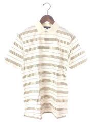 ポロシャツ/M/コットン/ホワイト/白/マルチカラー/ボーダー/ワンポイントロゴ/中古/古着/