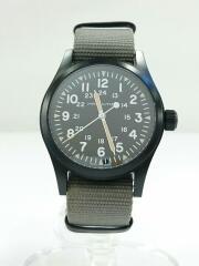 クォーツ腕時計/カーキフィールドメカニカル/アナログ/キャンバス/ブラック/中古/USED