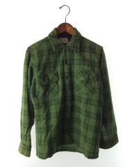 長袖シャツ/M/グリーン/60s/キルティング/ネルシャツ/再生羊毛/ウール/羊毛