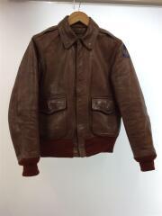 Red rib A-2 Flight Jacket/S/34/レザーフライトジャケット/ブラウン/タロンジップ