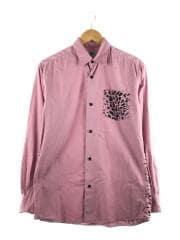 長袖シャツ/S/コットン/PNK/ベイプ/エイプ/柄/バックプリント/胸ポケット