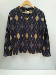 セーター(薄手)/M/ウール/BLU/アーガイルニット