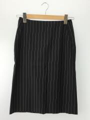 スカート/36/ウール/BLK/ストライプ