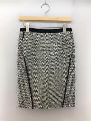 タイトスカート/膝丈/36/M/切替デザイン/ジップアップ/サイドライン/ウール/BLK/セカスト