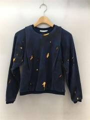 F114-1865OTW/Cracked effect Sweatshirt/XS/NVY/セカスト