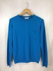 セーター/薄手ニット/トップス/ロングスリーブ/M/ウール/ブルー/青/ポケット/メンズ