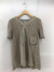 半袖セーター/ニット/FREE/リネン/BEG/胸ポケット/ローゲージ/ケーブル/セカスト