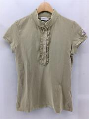 ポロシャツ/XS/コットン/BEG/フリル/替ボタン付/ワンポイントロゴ/ボタンダウン/セカスト