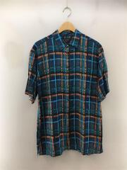 409302008/カラーチェックプリントシャツ/3(L)/レーヨン/NVY/総柄/セカンドストリート