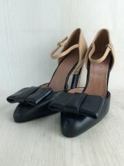 35.5/22.5cm/mary jane shoe/パンプス/BLK/BEG/レザー/ベルト/リボン