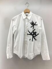 1D-B004/長袖シャツ/XS/WHT/デザイン/AD2019/襟汚れ有/セカスト