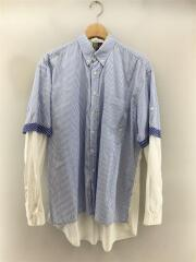 KM-SH-M02/DOUBLE SLEEVE STRIPE SHIRT/L/BLU/ストライプ/2012SS