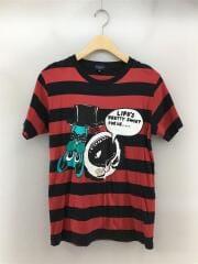 Tシャツ/M/コットン/RED/プリント/ボーダー/半袖/丸首/クルーネック/セカスト