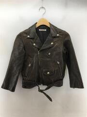 1440402401/shrink leather riders jacket/ダブル/羊革/BRW