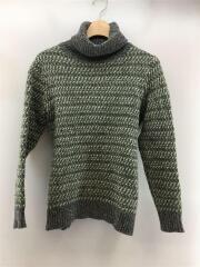 MGL-KN06/セーター(厚手)/シェットランドウール/タートルネック/M/ウール/GRN/無地/セカスト