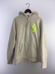 19AW/S Logo Hooded Sweatshirt/パーカー/L/コットン/グレー/プルオーバー Sロゴ