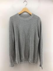 セーター(厚手)/S/コットン/GRY/リブニットクルーネックセーター/2017ss/セカスト