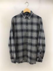 長袖シャツ/48/コットン/GRY/チェック/ボタン/ロングスリーブ/ネルシャツ/セカスト