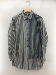 長袖シャツ/XS/コットン/BLK/ストライプ/レイヤードデザイン/19aw/ドッキングシャツ/セカスト
