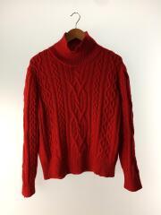 セーター(薄手)/M/ウール/RED/タートルネックニット/厚手/ワンカラー/セカスト