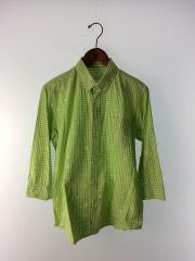 長袖シャツ/トップス/チェックシャツ/2/コットン/グリーン/緑/チェック柄/中古