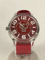 クォーツ腕時計/アナログ/ナイロン/RED/PNK