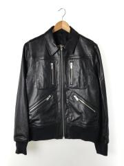 Cindyprint leather jacket/ダブルライダースジャケット/3/羊革/BLK