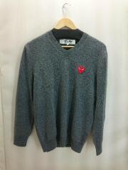 セーター(薄手)/S/ウール/GRY/無地/AZ-N002/AD2004/PLAY V-NECK SWEATER