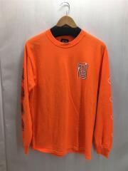 長袖Tシャツ/ロンT/プリント/袖プリ/M/オレンジ/オーバーサイズ/スケーター/中古/古着